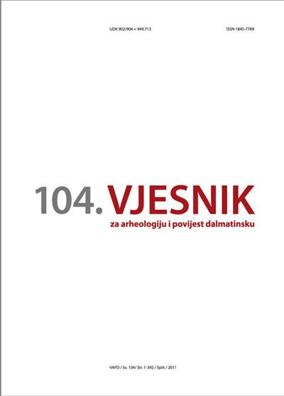 AMS - Naslovnica 104. broja časopisa 'Vjesnik za arheologiju i povijest dalmatinsku'. Ustupio: AMS PRESS.