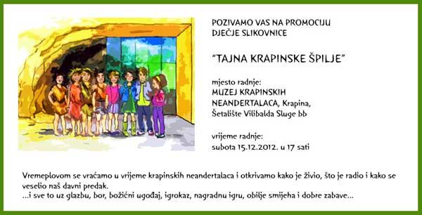 MKN - Poziv na predstavljanje dječje slikovnice 'Tajna krapinske špilje'. Ustupio: MKN PRESS.