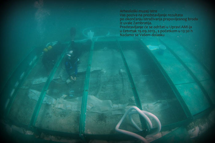 AMI - Poziv na predstavljanje rezultata po okončanju istraživanja prapovijesnog broda iz uvale Zambratia. Ustupio: AMI PRESS: