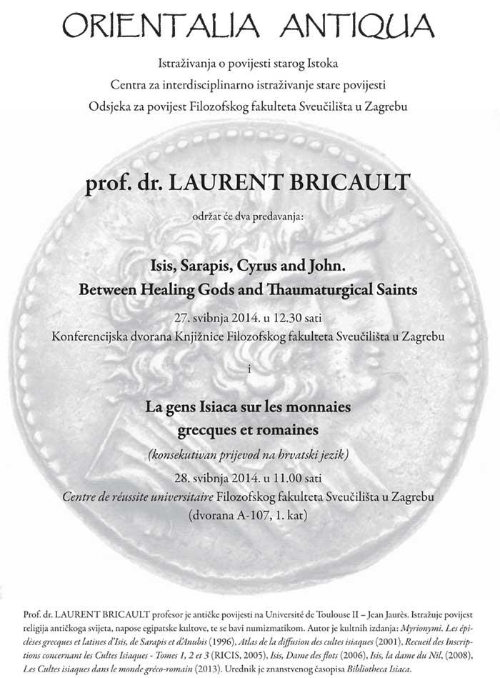 FFZG - Plakat predavanja prof. Laurenta Bricaulta sa Sveučilišta u Toulouseu. Ustupila: IVB.