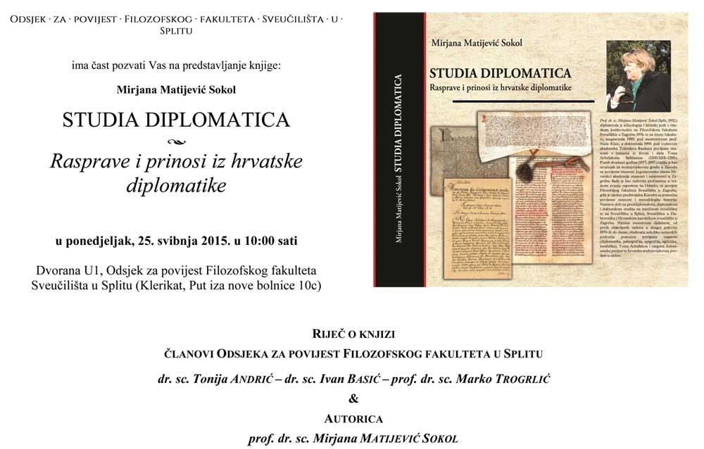 FFST - Pozivnica za promocija knjige Mirjane Matijević Sokol 'Studia diplomatica'. Ustupio: FFST PRESS.