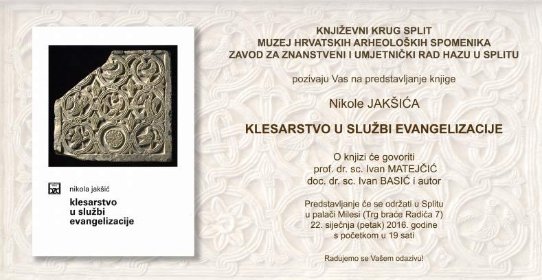 Pozivnica za predstavljanje knjige Nikola Jakšić 'Klesarstvo u službi evangelizacije'. Ustupio: MHAS PRESS.
