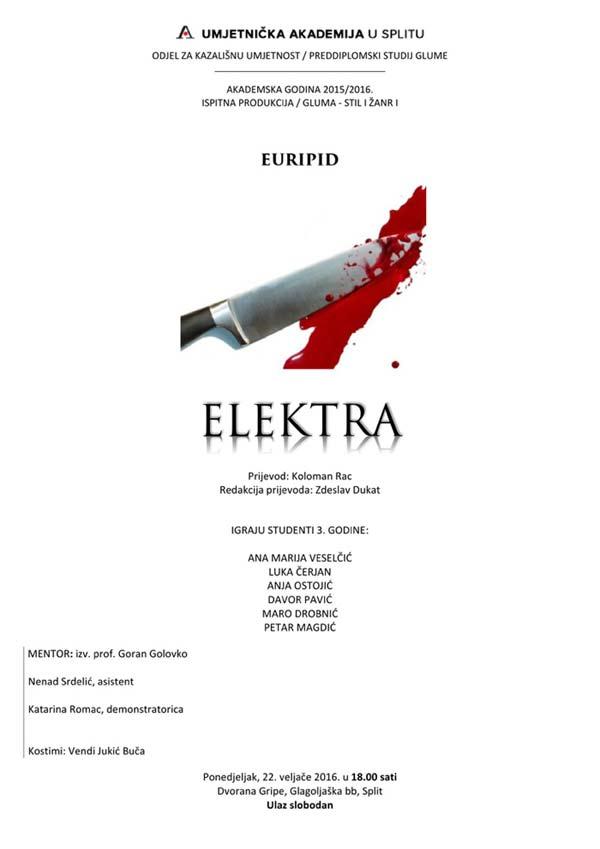 UMAS - Plakat predstave 'Elektra'. Ustupio: UMAS PRESS.